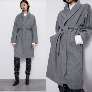 Zara soft touch oversized belted coat